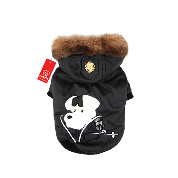 Alpine Skiing Dog Jacket by Puppia - Black