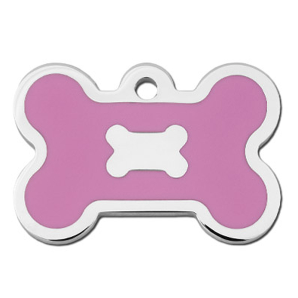 Bone Large Engravable Pet I.D. Tag - Chrome and Pink