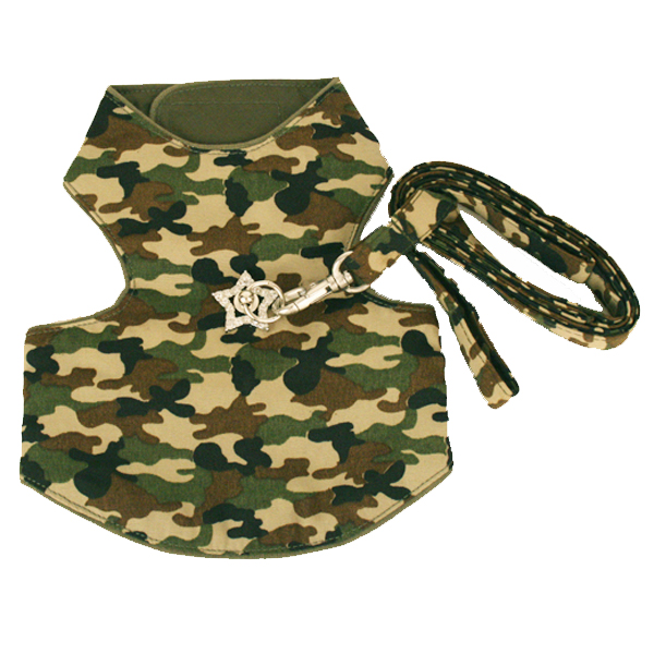 Camo Dog Harness Vest - Green with Swarovski Crystal Star