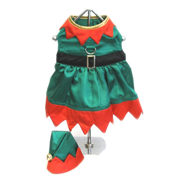 Elf Girl Dog Harness Dress w/ Hat