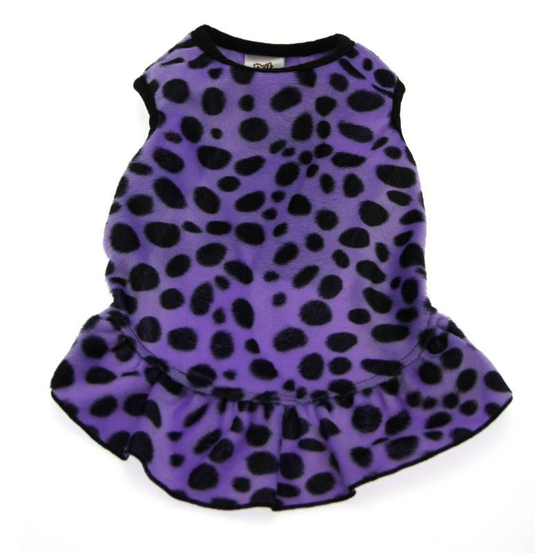Faux Fur Dalmatian Dog Dress - Purple