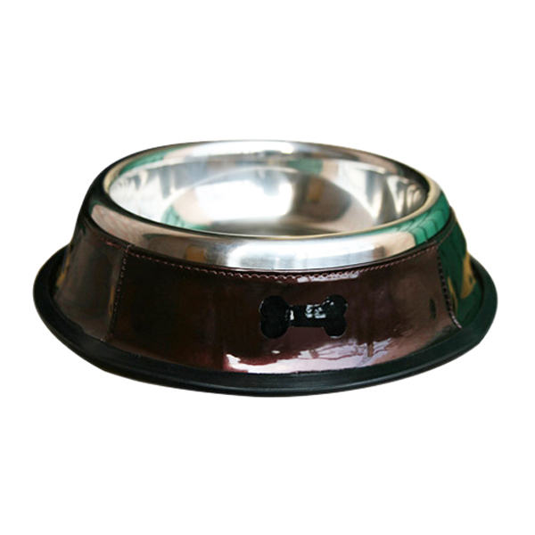 Patent Leather & Stainless Steel Dog Bowl - Brown