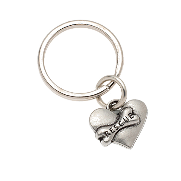 Pewter Pet Lover Keychain - Rescue Heart & Bone
