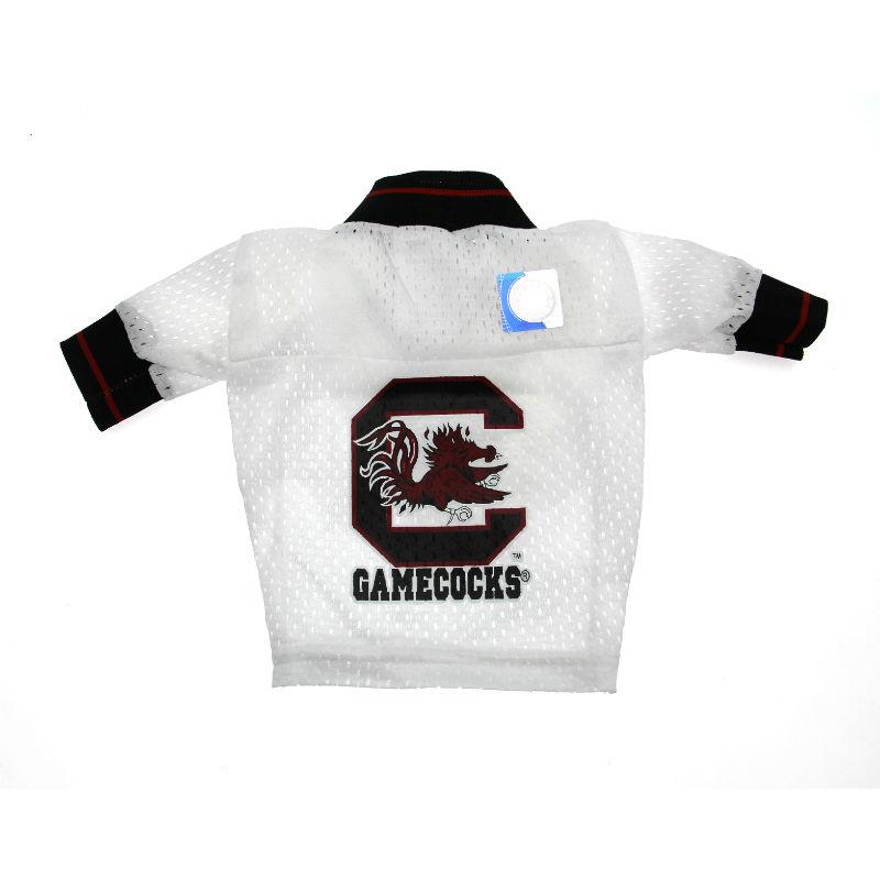 South Carolina Gamecocks White Dog Jersey - Black Collar with Garnet Stripe