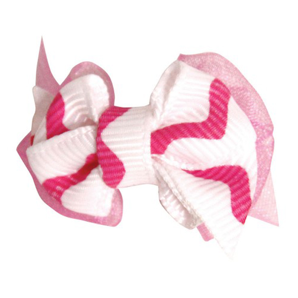 Wavy Stripe Dog Bow - Hot Pink