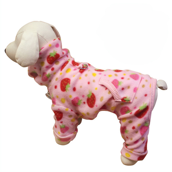 Yummy Strawberry Turtleneck Fleece Dog Pajamas by Klippo