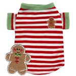 Gingerbread Man Red Stripe T-Shirt by Hip Doggie