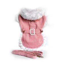 Beverly Hills Houndstooth with White Fur Dog Harness Coat