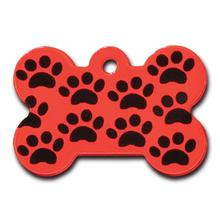 Bone Large Engravable Pet I.D. Tag - Red with Black Paws
