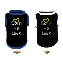 Born to Love Reflective Dog T-Shirt by Ultra Paws - Blue Trim