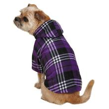 Everest Plaid Fleece Dog Hoodie - Purple