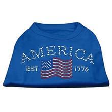 Classic American Rhinestone Dog Tank Top - Blue