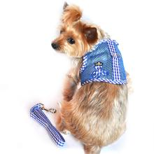 Cool Mesh Velcro Dog Harness - Boy Octopus Blue Gingham