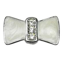Enamel Bow Slider Dog Collar Charm - White