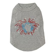 Fireworks Rhinestone Dog Tank Top - Gray