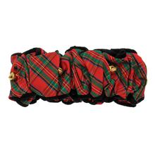Fox & Hounds Tartan Velvet Trim Scrunchie with Jingle Bells - Red