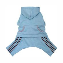 Hooded Dog Jumpsuit with Reflective Stripes by Klippo - Light Blue