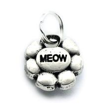 Pewter Cat Collar Charm: Meow Flower