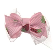 Strawberry Dog Hair Bow with Alligator Clip - Pink