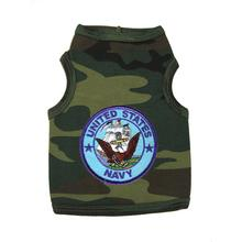 U.S. Navy Crest Dog Tank Top - Camo with Blue Patch