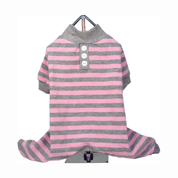 FouFou Striped Dog Pajamas - Pink