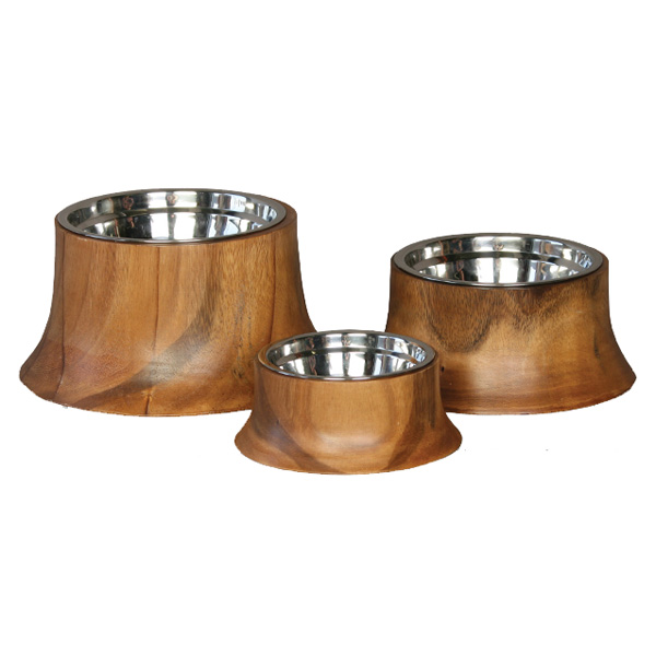 Acacia Wooden Dog Bowl