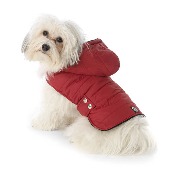 Alberta Quilted Dog Parka - Garnet Red