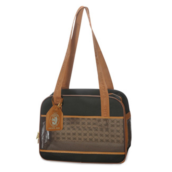 Amelia Collection Dog Tote - Black w/ Tan Trim