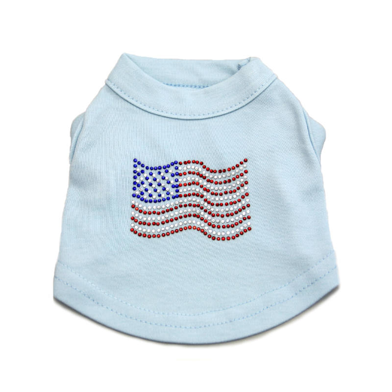 American Flag Rhinestone Dog Tank - Light Blue