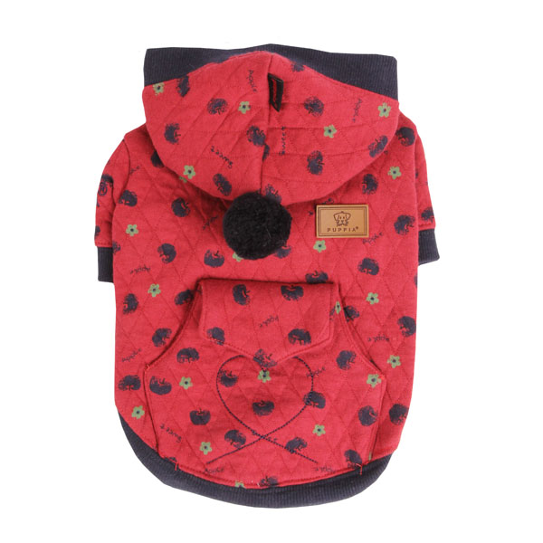Apple Blossom Dog Hoodie by Puppia - Red