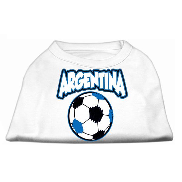 Argentina Soccer Print Dog Shirt - White