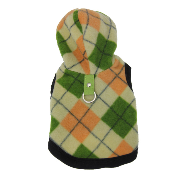Argyle Fleece Dog Hoodie by Gooby - Peach and Green