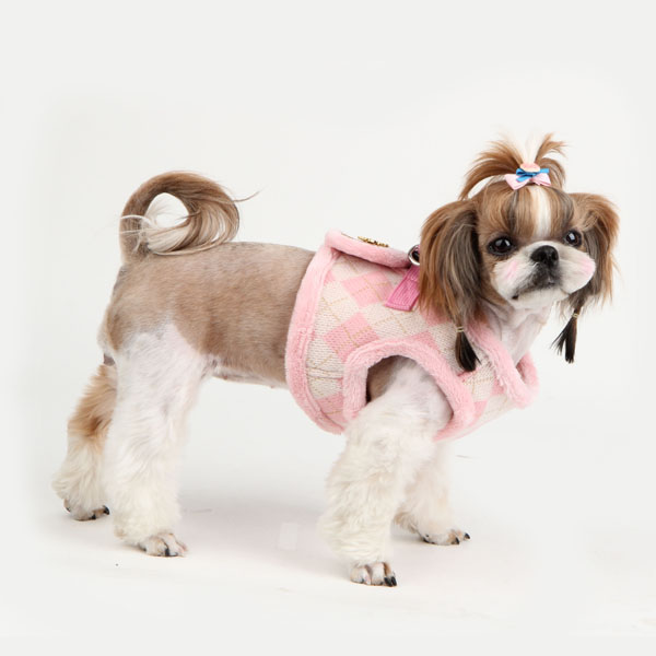 Argyle Mode Dog Harness Vest by Puppia - Pink