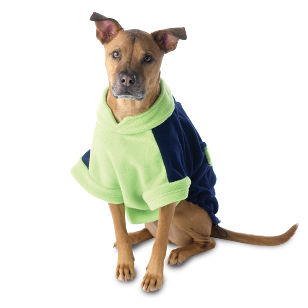 Attitash Fleece Dog Jacket - Navy & Lime