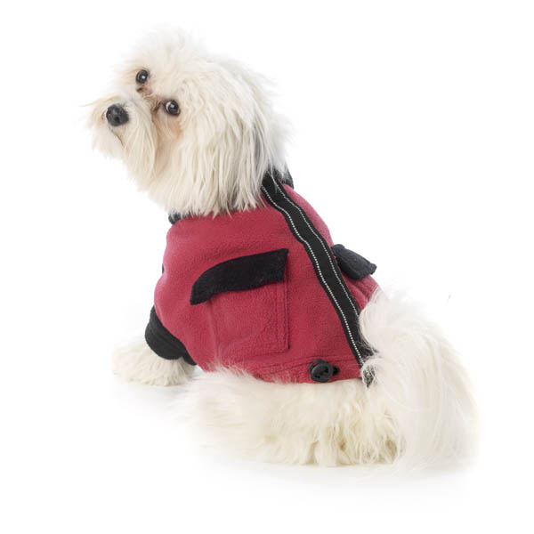 Attitash Fleece Dog Jacket - Raspberry & Black