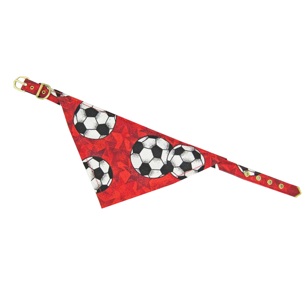 Bandana Dog Collar - Red Soccer