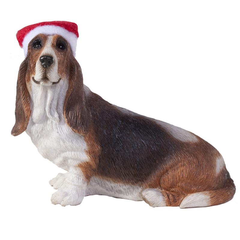Basset Hound Christmas Ornament - Sitting Profile