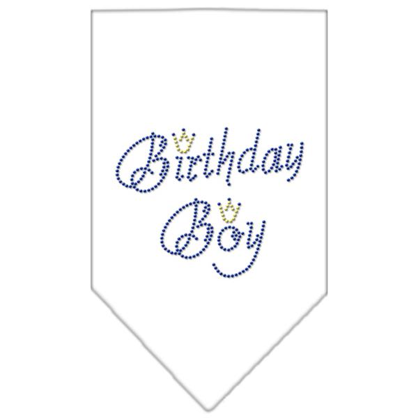 Birthday Boy Rhinestone Dog Bandana - White