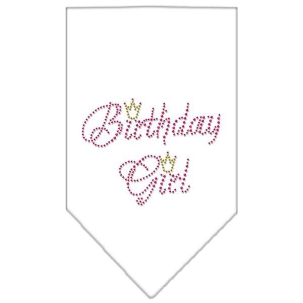Birthday Girl Rhinestone Dog Bandana - White
