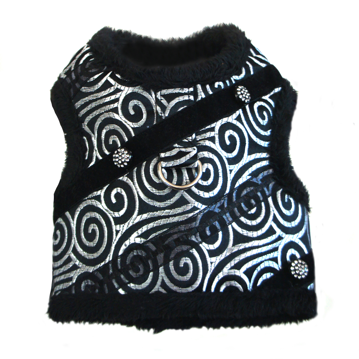 Black and Silver Brocade Minky Plush Dog Harness with Leash