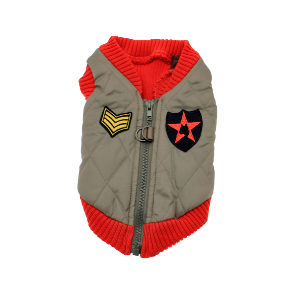 Bomber Dog Vest by Gooby - Red Trim
