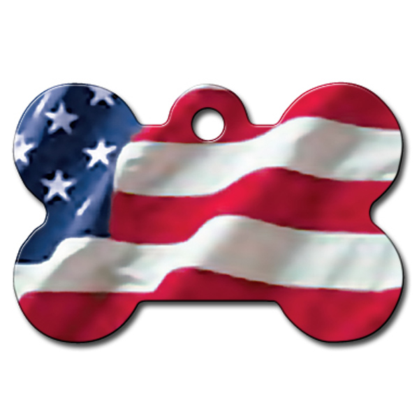 Bone Large Engravable Pet I.D. Tag - American Flag