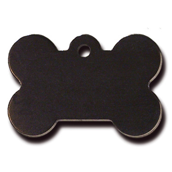 Bone Large Engravable Pet I.D. Tag - Black