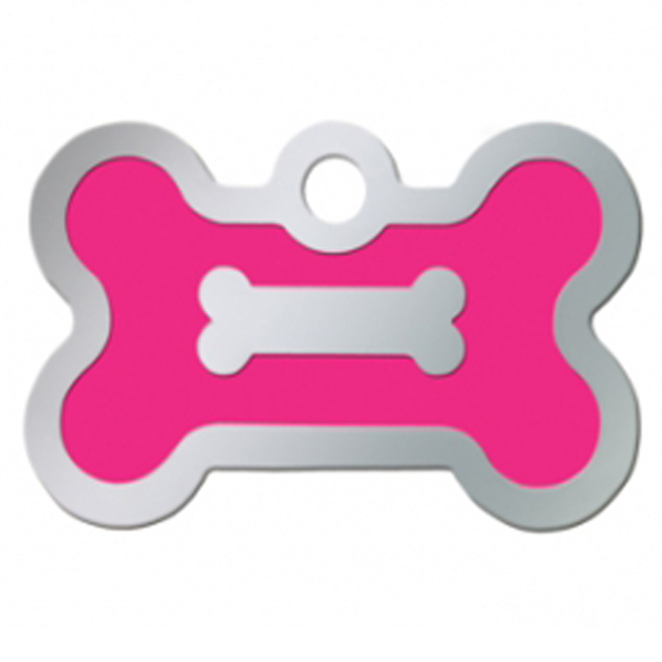 Bone Large Engravable Pet I.D. Tag - Chrome and Neon Pink