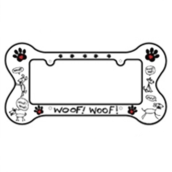 Bone Shaped License Plate Frame - Woof Woof
