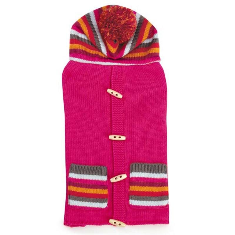 Bright Stripe Dog Sweater Vest - Raspberry