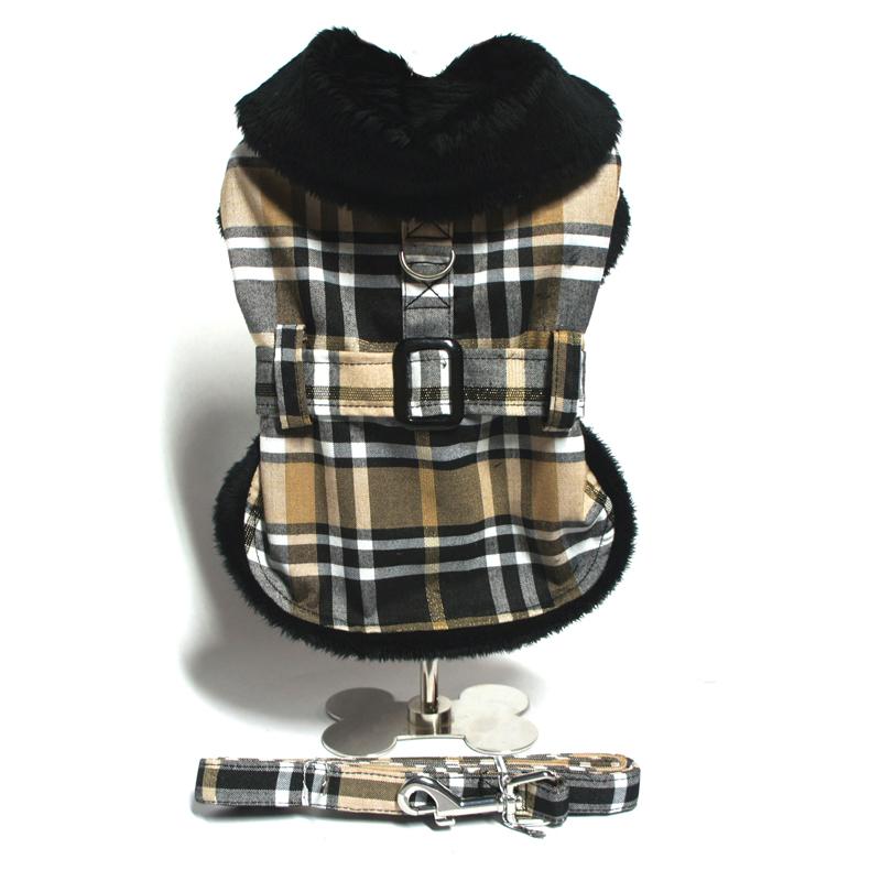 Brown Plaid Dog Coat Set