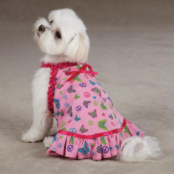 Butterfly Garden Dog Dress - Pink