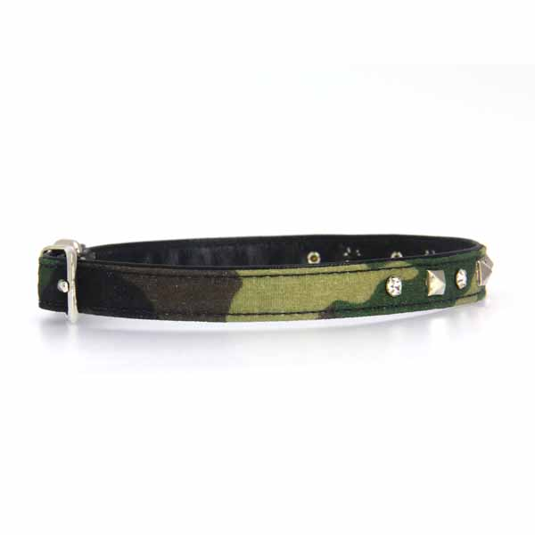 Camo Diamond & Pyramid Dog Collar - Green