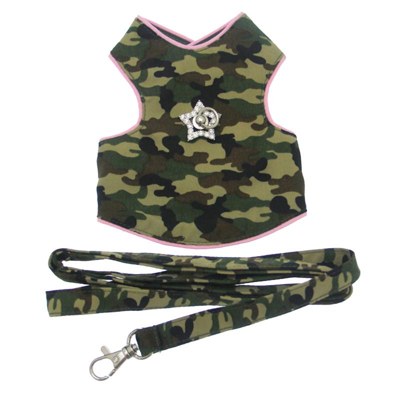 Camo Dog Harness Vest - Pink Trim with Swarovski Crystal Star